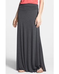 Bobeau ruched waist maxi skirt heather charcoal x small medium 320944