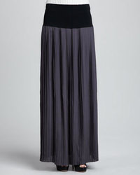 Rebecca taylor knit waist pleated maxi skirt medium 95510