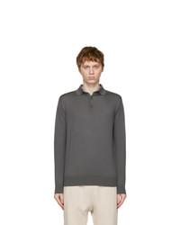 Loro Piana Grey Cashmere Long Sleeve Polo