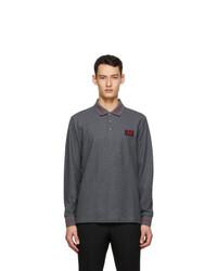 Burberry Grey Pique Logo Long Sleeve Polo