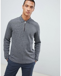 Ted Baker Knitted Polo Shirt In Grey Waffle