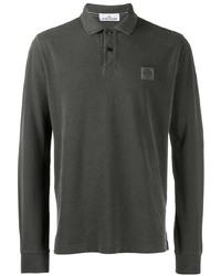 Stone Island Logo Long Sleeve Polo Shirt