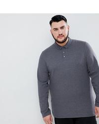 ASOS DESIGN Plus Long Sleeve Pique Polo With Collar In Grey