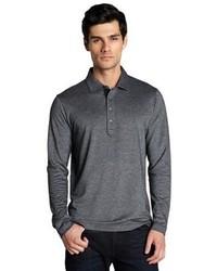 Canali Charcoal Cotton Cashmere Long Sleeve Polo Shirt