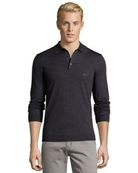 Hugo Boss Charcoal Grey Virgin Wool Bannett Long Sleeve Polo