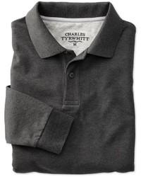 Charles Tyrwhitt Charcoal Heather Long Sleeve Slim Fit Piqu Polo