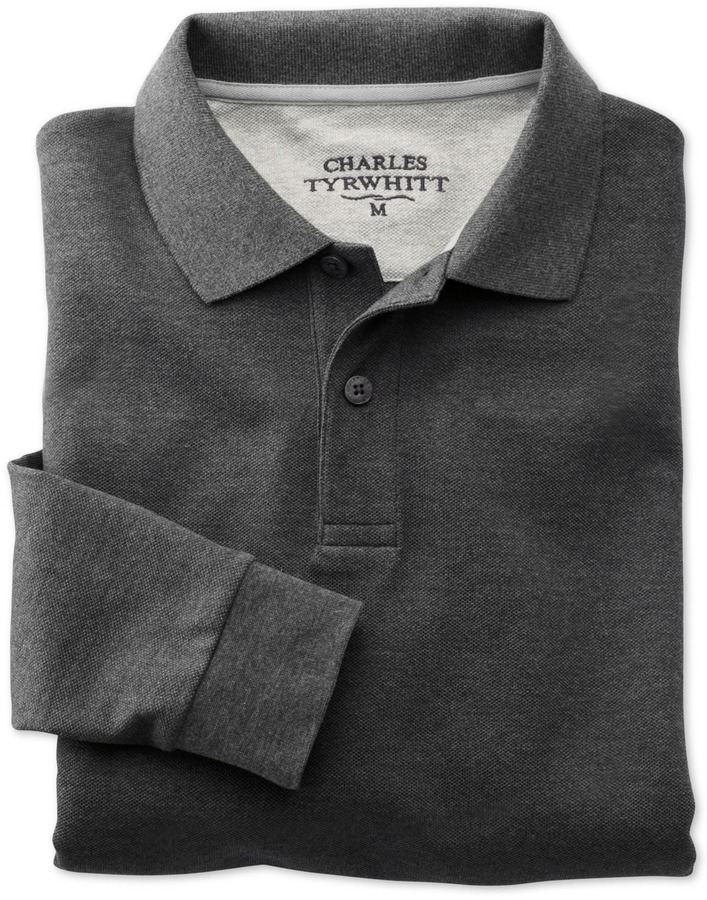 2105fa972 Charles Tyrwhitt Charcoal Long Sleeve Pique Polo, $70 | Charles ...