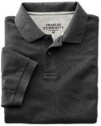 Charles Tyrwhitt Charcoal Pique Polo