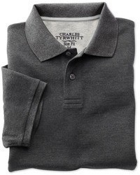 Charles Tyrwhitt Charcoal Short Sleeve Slim Fit Piqu Polo