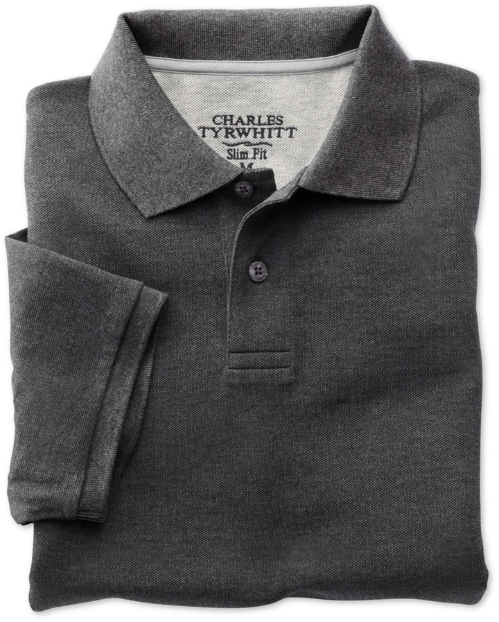 62538aa77 Charles Tyrwhitt Charcoal Short Sleeve Slim Fit Piqu Polo, $49 ...
