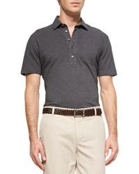 Brunello Cucinelli Fine Pique Knit Polo Shirt Charcoal