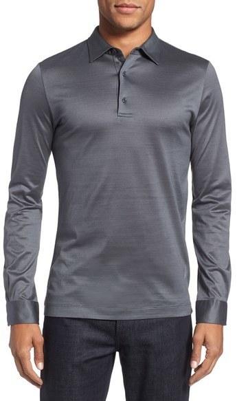b2df53c9085 Pal Zileri Long Sleeve Mercerized Jersey Polo, $275 | Nordstrom ...