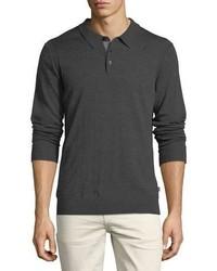 Michael Kors Michl Kors Long Sleeve Merino Wool Polo Shirt