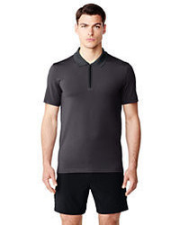 Sport Bonded Zip Polo Charcoal Heather Printxl