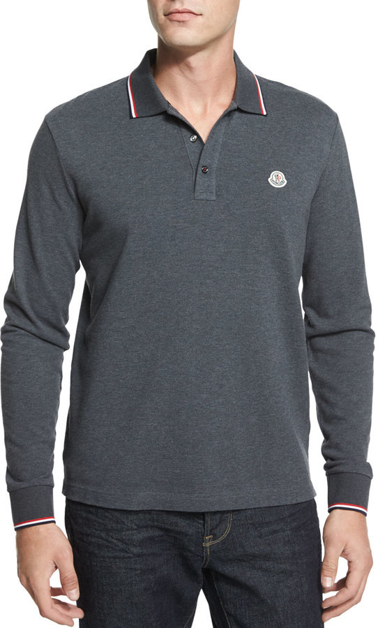 6f1a4ee72 $205, Moncler Tipped Long Sleeve Polo Shirt Gray