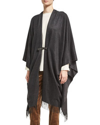 Buckle front fringe poncho smoke medium 3698054
