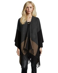 Wyatt Charcoal And Brown Rib Knit Open Front Fringe Poncho