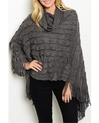 Key To My Heart Charcoal Poncho