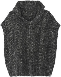 The Elder Statesman Malta Mlange Cashmere Hooded Poncho Charcoal