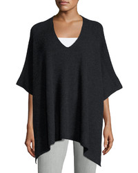 Vince Cashmere Ribbed V Neck Poncho Heather Charcoal