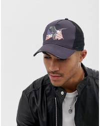 ASOS DESIGN Trucker Cap In Black With Eagle Flag Design
