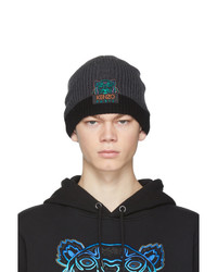 Kenzo Grey And Black Limited Edition Holiday Wool Two Tone Tiger Beanie