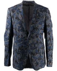 Versace Baroccoflage Print Pinstripe Blazer