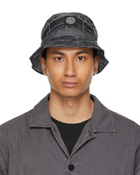 Stone Island Grey Packable Reflective Grid Bucket Hat