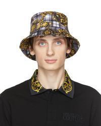 VERSACE JEANS COUTURE Grey Tartan Baroque Bucket Hat