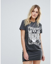 Brave Soul Graphic Band T Shirt Dress