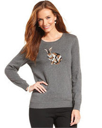 Charter Club Bunny Print Pullover Sweater