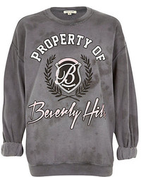 Grey beverly hills washed sweatshirt medium 116992