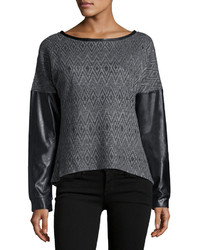 P Luca Faux Leather Sleeve Zip Back Sweater Blackcharcoal