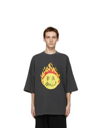 Palm Angels Black Smiley Edition Burning Head T Shirt