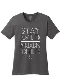 Charcoal White Stay Wild Moon Child Crewneck Top