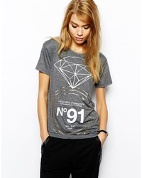 Criminal Damage T Shirt With Diamond Ring Print Grey