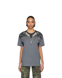 Marcelo Burlon County of Milan Grey And Black Wings T Shirt