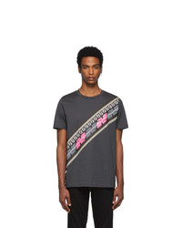 Fendi Grey And Pink Forever Intarsia Print T Shirt