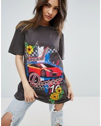 Asos T Shirt With Racer Print And Floral Applique