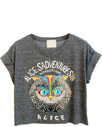 Choies Gray Owl Pattern Crop Top With Letter Print