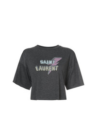 Saint Laurent Cropped Lightening Bolt T Shirt