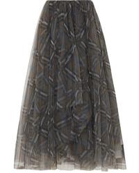 Brunello Cucinelli Plaid Tulle Midi Skirt