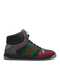 Gucci Black And Red Screener Sneakers