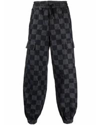 Marcelo Burlon County of Milan Checkerboard Print Denim Track Pants