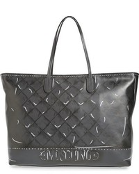 Moschino Shadow Print Leather Tote Blue