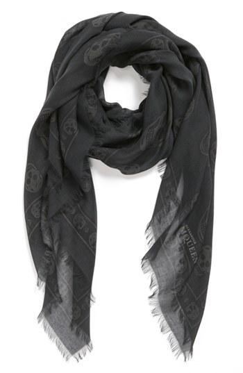 Alexander McQueen Skull Print Modal Silk Scarf Grey Black Ivory None