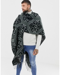 ASOS DESIGN Cape In Monochrome Aztec Print