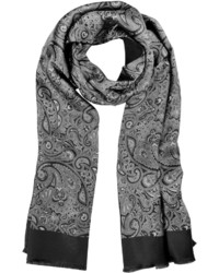 Forzieri Large Paisley Print Silk Modal Reversible Scarf