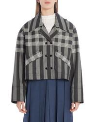 Fendi Ff Logo Check Stripe Jacquard Hooded Crop Jacket