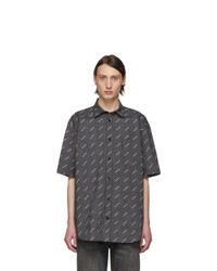 Balenciaga Black And White Check All Over Logo Normal Fit Shirt